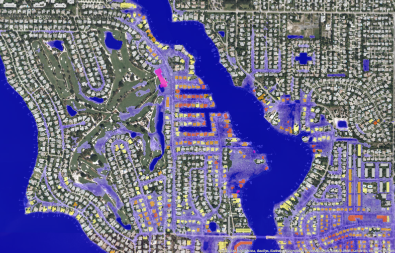 Ambiental's USA FloodMap 100 year fluvial return period for Houston, Texas