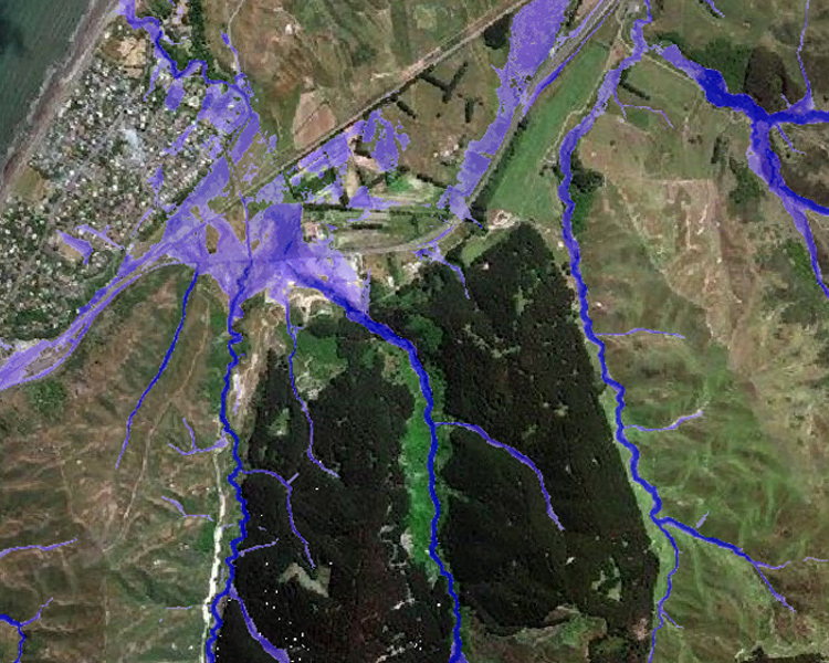 Visualisation of the New Zealand FloodMap 100yr Fluvial (Riverine) layer